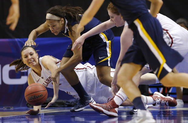 West Virginia's Christal Caldwell (1) dives for the ball between Oklahoma's Nicole Kornet (1) and Oklahoma's Joanna McFarland (53) during the Big 12 tournament women's college basketball game between the University of Oklahoma and West Virginia at American Airlines Arena in Dallas, Saturday, March 9, 2012.  Photo by Bryan Terry, The Oklahoman