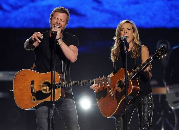 Dierks Bentley, left, and Sheryl Crow perform on stage at the 49th annual Academy of Country Music Awards at the MGM Grand Garden Arena on Sunday, April 6, 2014, in Las Vegas. (AP)