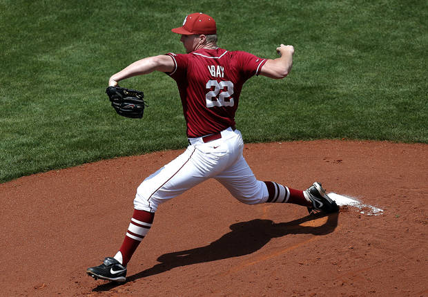 OU's Jonathan Gray throws a pitchduring the Bedlam baseball game between the University of Oklahoma and Oklahoma State University at the Chickasaw Bricktown Ballpark in Oklahoma CIty, Saturday, May 11, 2013. Photo by Sarah Phipps, The Oklahoman