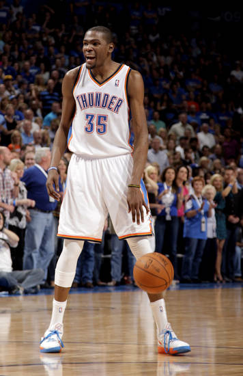 Oklahoma City's Kevin Durant (35) celebrates during the NBA basketball game between the Miami Heat and the Oklahoma City Thunder at Chesapeake Energy Arena in Oklahoma City, Sunday, March 25, 2012. Photo by Sarah Phipps The Oklahoman