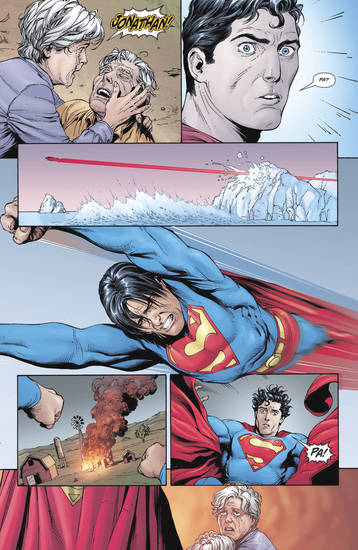 "This photo released by DC Comics shows a scene from ""Action Comics"" #870, where Superman's adopted father, Jonathan Kent, dies from a heart attack. ""Action Comics"" was the year's best periodical comic book. AP Photo/DC Comics"