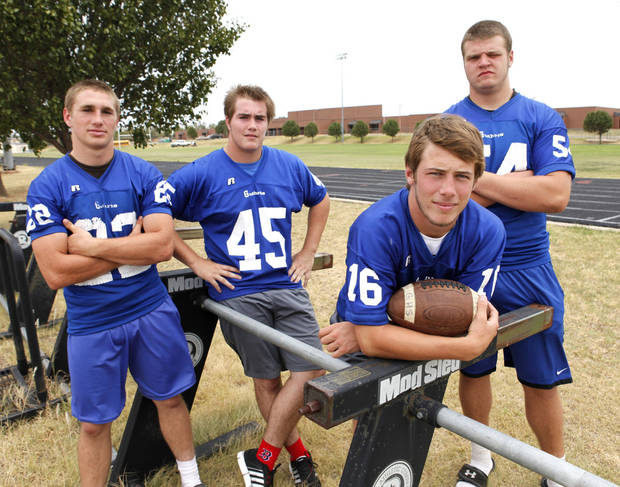 From left to right, Luke Davis, Landry Chappell, Bryan Dutton, and Blake Belcher have Guthrie eyeing a Class 5A championship in 2011. PHOTO BY PAUL HELLSTERN, THE OKLAHOMAN