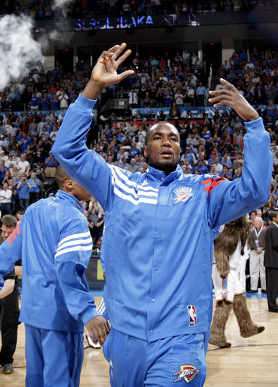Oklahoma City's Serge Ibaka (9) celebrates before  the NBA basketball game between the Miami Heat and the Oklahoma City Thunder at Chesapeake Energy Arena in Oklahoma City, Sunday, March 25, 2012. Photo by Sarah Phipps The Oklahoman