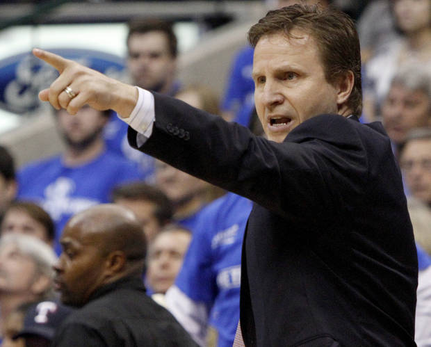 Oklahoma City coach Scott Brooks shouts instructions during game 2 of the Western Conference Finals in the NBA basketball playoffs between the Dallas Mavericks and the Oklahoma City Thunder at American Airlines Center in Dallas, Thursday, May 19, 2011. Photo by Bryan Terry, The Oklahoman