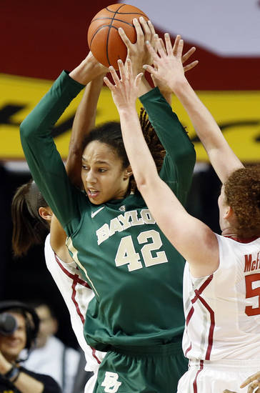 Baylor&#039;s Brittney Griner (42) get stuck between Oklahoma&#039;s Nicole Griffin (4), back, and Joanna McFarland (53) during a women&#039;s college basketball game between the University of Oklahoma (OU) and Baylor at the Lloyd Noble Center in Norman, Okla., Monday, Feb. 25, 2013. Photo by Nate Billings, The Oklahoman