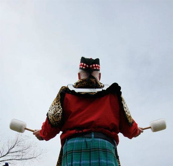 Tom Hendrix plays the drums for the Pipes and Drums of the Highlanders of Oklahoma at the Iron Thistle Scottish Heritage Festival and Highland Games at the Kirkpatrick Family Farm in Yukon Saturday March 21, 2009. Photo by Doug Hoke, The Oklahoman
