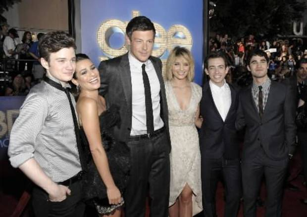 "From left to right, actor Chris Colfer, actress Lea Michele, actor Cory Monteith, actress Dianna Agron, actor Kevin McHale, and actor Darren Criss arrive at the premiere of the feature film "" Glee The 3D Concert Movie"" in Los Angeles on Saturday, Aug. 6, 2011."