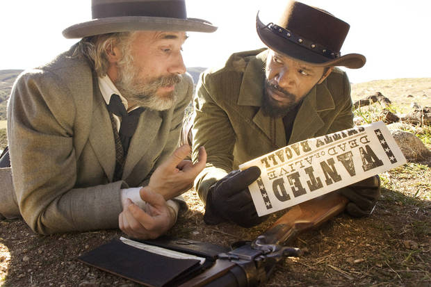 "Christolph Waltz, left, and Jamie Foxx in a scene from ""Django Unchained."" WEINSTEIN COMPANY PHOTO <strong>Andrew Cooper, SMPSP</strong>"