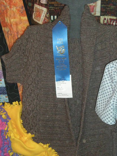 Hand-knitted sweater by Martha Vickery, a blue-ribbon winner at the State Fair. - PHOTO BY MARY PHILLIPS, THE OKLAHOMAN