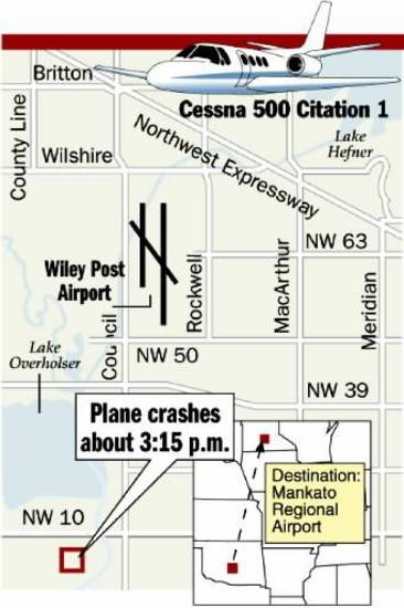 Cessna 500 Citation 1, County Line, Britton, Wilshire, Lake Hefner, Northwest Expressway, Wiley Post Airport, Council, NW 50, Rockwell, MacArthur, NW 63, Meridian, Lake  Overholser, NW 39, NW 10, Destination: Mankato Regional Airport