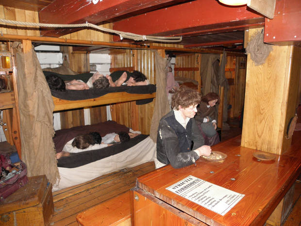 Below deck on the Jeanie Johnston in Dublin, Ireland, where visitors can research geneaology and learn about emigrants who left Ireland for North America.Photo provided by Richard N. Every
