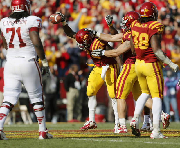 Iowa State's Durrell Givens (24) reacts after the Cyclones intercepted a pass in the second quarter during a college football game between the University of Oklahoma (OU) and Iowa State University (ISU) at Jack Trice Stadium in Ames, Iowa, Saturday, Nov. 3, 2012. Photo by Nate Billings, The Oklahoman