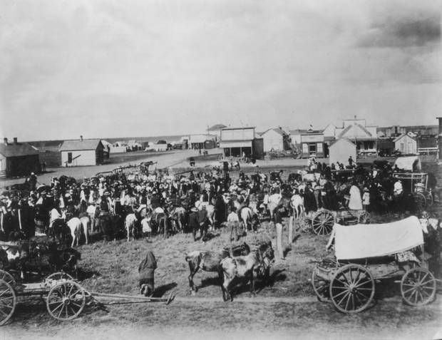 Early day El Reno about 1890. One of the earliest pictures of El Reno. Taken  from the corner of Choctaw and Woodson, looking east.