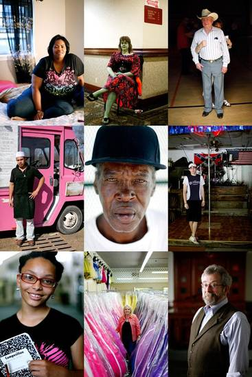 From top left; Dacia Wallace, Tabitha Croslin, Tommy Keirsey, Marco Perez, James Holdman, Justin Morris, Alexandria Jovan Sliger, Kimberly Butler, and Rabbi Marc Fitzerman. Photographed for the Everyday People photo project. JOHN CLANTON/Tulsa World