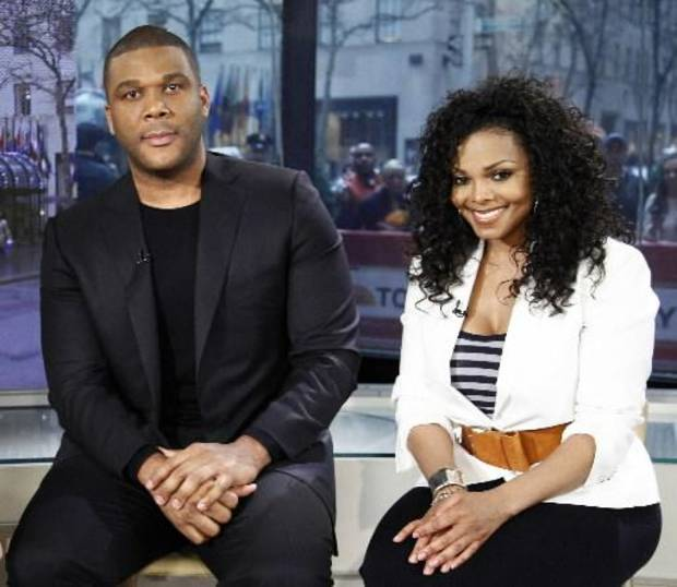 "Tyler Perry and Janet Jackson on the set of ""Today Show"" on NBC. (AP Photo/Peter Kramer)"