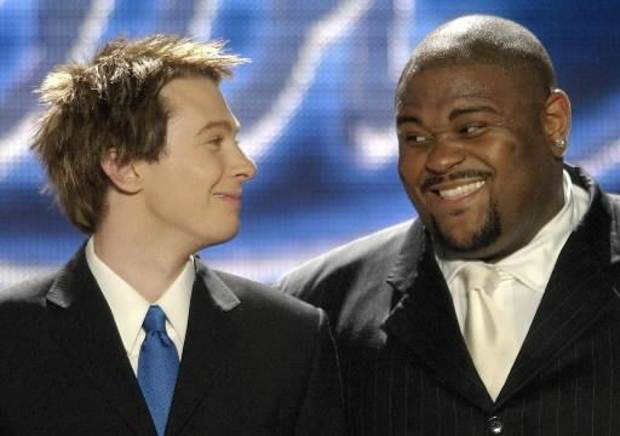 Clay Aiken, left, and Ruben Studdard during the 2003 finale of &quot;American Idol.&quot; (AP Photo/Kevork Djansezian)
