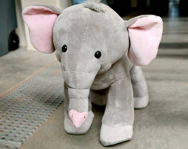 Sammy, a stuffed animal poses inside the new Elephant Exhibit at the Oklahoma City Zoo on Tuesday, April 5, 2011. Sammy is used for practice as animal keepers, supervisors and volunteers prepare to help deliver Asha's calf. Photo by John Clanton, The Oklahoman