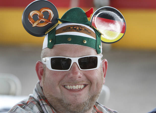 Jason Campbell, from Moore, gets into the spirit with his German Mickey Mouse hat during Oktoberfest in the Park in Choctaw, Monday, September 3, 2012. Photo By David McDaniel/The Oklahoman