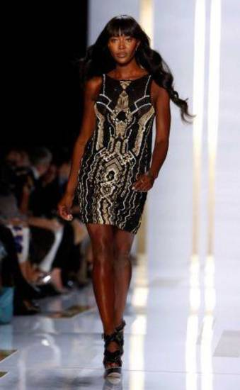 Supermodel Naomi Campbell on the DKNY runway for the spring 2014 collections in New York. AP PHOTO