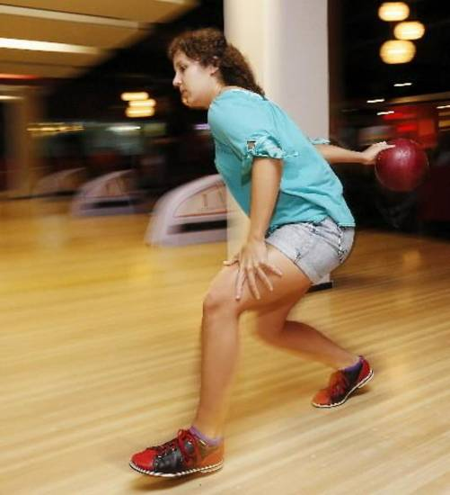 Allison Sprague bowls at Bricktown's RedPin in Oklahoma City, Friday, Aug. 2, 2013. Photo by Nate Billings, The Oklahoman