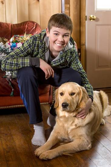 """CHRISTMAS WITH TUCKER: Gage Munroe and Nella - Hallmark Movie Channel Photo"