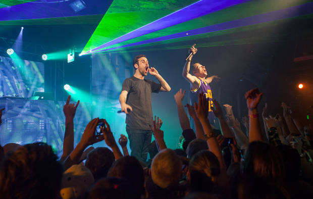 IMAGE DISTRIBUTED FOR PARK CITY LIVE - Producer Ryan Lewis and Macklemore perform onstage at Park City Live Day 9 on Friday, January 25, 2013, in Park City, Utah. (Photo by Barry Brecheisen/Invision for Park City Live/AP Images)