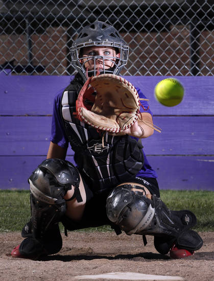 Community Christian catcher Niki Davidson takes pitches on Wednesday, Sept. 19, 2012, in Norman, Okla.  Photo by Steve Sisney, The Oklahoman