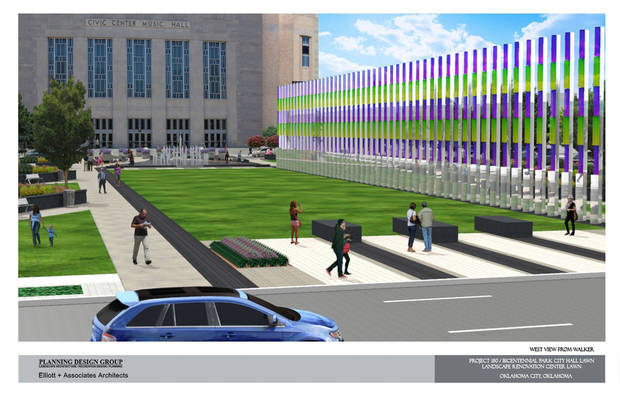 A drawing of the proposed makeover of the Civic Center park. Drawing provided