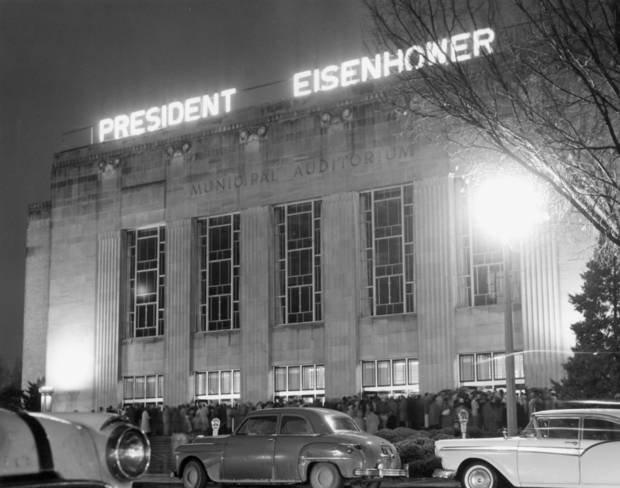 Night view of Civic Center (Municipal Auditorium)in 1957 during an Oklahoma City visit by President Dwight D. Eisenhower.  Staff photo by Jim Lucas taken 11/13/57.