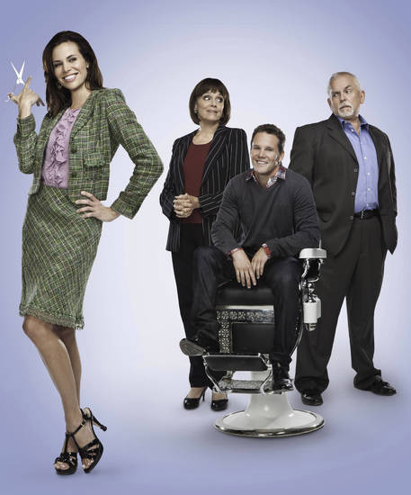 "From left, Brooke Burns, Valerie Harper, Dylan Bruno and John Ratzenberger of ""Fixing Pete"" - Crown Media Photo"