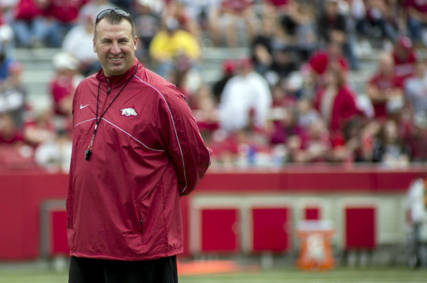 Arkansas coach Bret Bielema is no stranger to controversial comments. (AP Photo/Gareth Patterson, File)