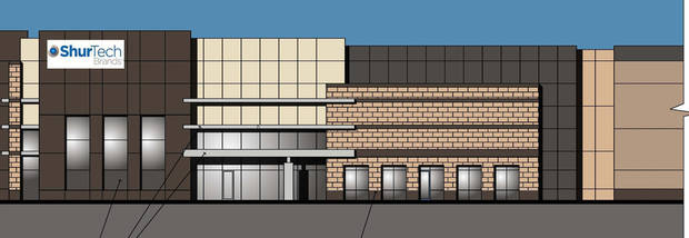 This architect's drawing shows how the ShurTech Brands LLC distribution center, developed by Gardner-Tanenbaum Group, will look when complete on the northeast corner of Interstate 35 and Britton Road. <strong> - PROVIDED BY GARDNER-TANENBAUM GR</strong>