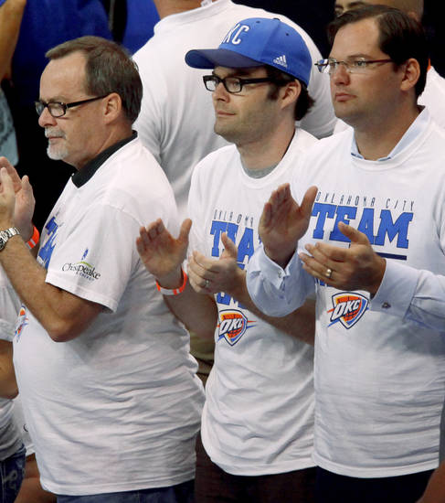 Bill Hader claps before Game 2 of the NBA Finals between the Oklahoma City Thunder and the Miami Heat at Chesapeake Energy Arena in Oklahoma City, Thursday, June 14, 2012. Photo by Nate Billings, The Oklahoman