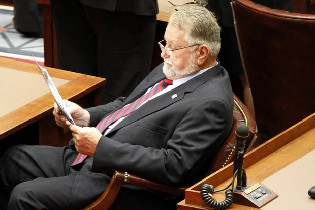 Senator Larry Boggs, District 7 looks at papers during the start of the 54th legislature session at the state Capitol in Oklahoma City, Monday February  04, 2013. Photo By Steve Gooch, The Oklahoman