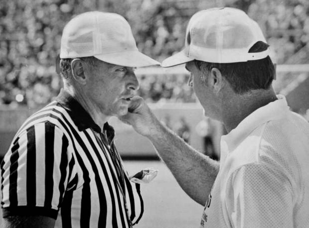 On field Oct. 7, 1973: Oklahoma State University (OSU) football coach Jim Stanley