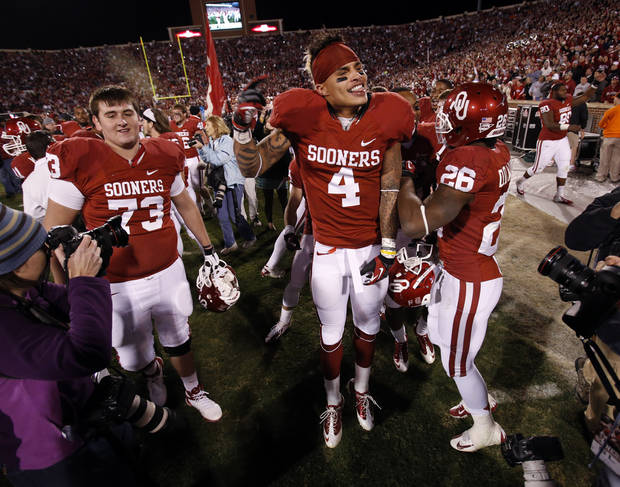 Kenny Stills (4) dances with teammates after the Bedlam college football game in which  the University of Oklahoma Sooners (OU) defeated the Oklahoma State University Cowboys (OSU) 51-48 in overtime at Gaylord Family-Oklahoma Memorial Stadium in Norman, Okla., Saturday, Nov. 24, 2012. Photo by Steve Sisney, The Oklahoman