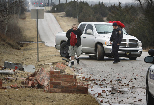 Norman police block traffic in the 2700 block of NW 12 afer a two car/mailbox accident around 8:00 am. on Thursday,  Jan. 28, 2010, in Norman, Okla.  Photo by Steve Sisney, The Oklahoman