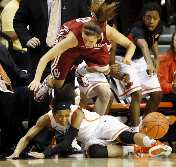Oklahoma's Morgan Hook (10), top,  goes airborne while chasing the ball with Oklahoma State's Tiffany Bias (3) during the Bedlam women's college basketball game between Oklahoma State University (OSU) and the University of Oklahoma (OU) at Gallagher-Iba Arena in Stillwater, Okla., Saturday, Feb. 23, 2013. Photo by Nate Billings, The Oklahoman