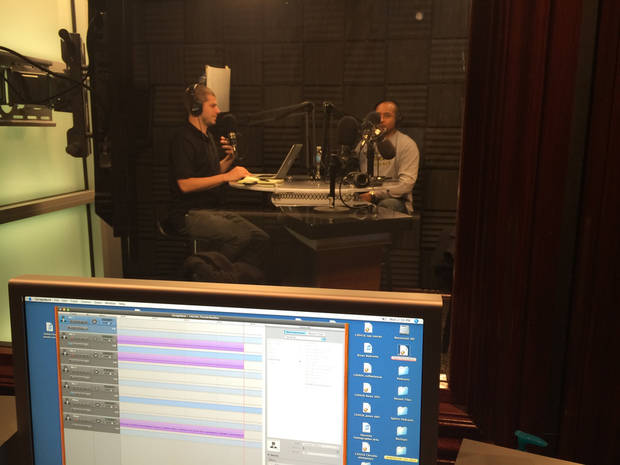 Darnell Mayberry and Anthony Slater in Studio C, or the podcast studio, recording this week's Thunder Buddies.
