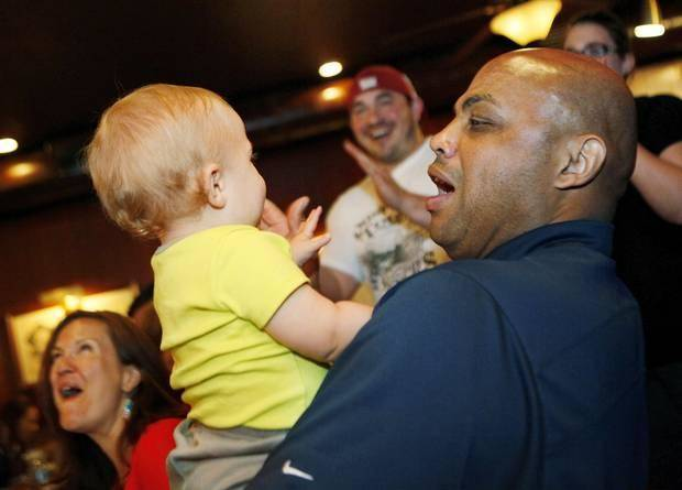 Charles Barkley holds 14-month-old Ben Price while at Cattlemen's Steakhouse in Oklahoma City, Friday, June 1, 2012.  Barkley had lunch at Cattlemen's as part of a tour of Oklahoma City. Photo by Nate Billings, The Oklahoman
