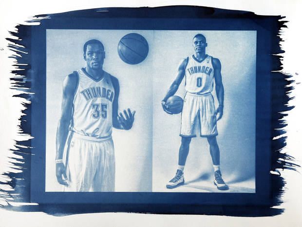 Oklahoma City's Kevin Durant (35) and Russell Westbrook. Photo by Chris Landsberger, The Oklahoman. Cyanotype print by Nate Billings, The Oklahoman