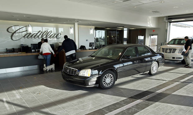 The floor of the service entrance features ceramic tile at the new Bob Moore Cadillac of Norman, 6400 N Interstate Drive. Photo by Steve Sisney, The Oklahoman <strong>STEVE SISNEY</strong>