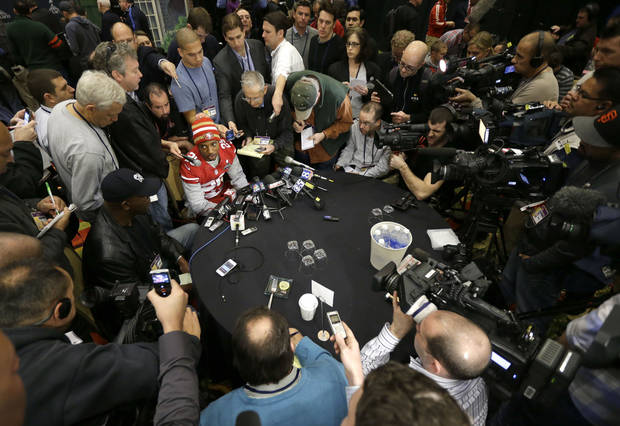 "San Francisco 49ers cornerback Chris Culliver, seated at top, answers questions Thursday, Jan. 31, 2013, in New Orleans, regarding anti-gay remarks he made during Super Bowl media day Tuesday. Culliver apologized for the comments he made to a comedian, saying ""that's not what I feel in my heart."" The 49ers are scheduled to play the Baltimore Ravens in the NFL Super Bowl XLVII football game on Feb. 3. (AP Photo/Mark Humphrey)"