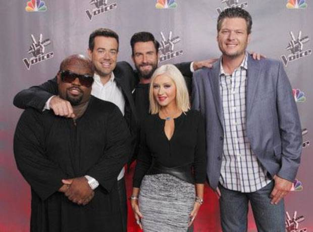 "THE VOICE -- ""Season 5 Press Junket"" -- Pictured: (l-r) CeeLo Green, Carson Daly, Adam Levine, Christina Aguilera, Blake Shelton  -- (Photo by: Trae Patton/NBC)"