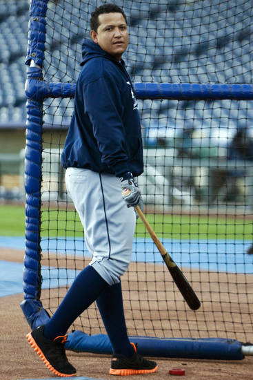   Detroit Tigers&#039; Miguel Cabrera waits his turn during batting practice before a baseball game with the Kansas City Royals at Kauffman Stadium in Kansas City, Mo., Wednesday, Oct. 3, 2012. (AP Photo/Orlin Wagner)  