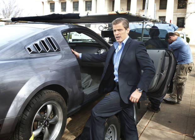 "Actor Casper Van Dien prepares for a car scene in the 3-D horror / sci-fi movie ""Higher Mission"", being filmed in part at the Scottish Rite Tempel in Guthrie, OK, Friday, February 8, 2013,  By Paul Hellstern, The Oklahoman"