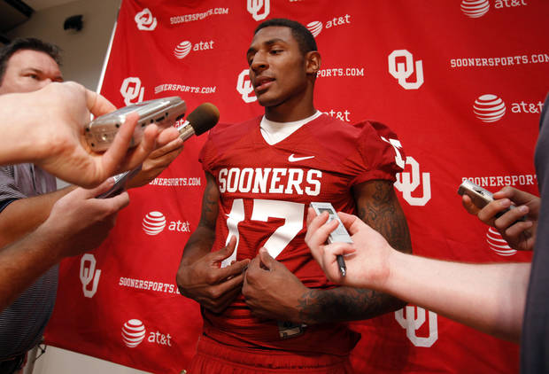 OU COLLEGE FOOTBALL: Trey Metoyer (17) speaks with the media during the Meet the Sooners event at the University of Oklahoma on Saturday, Aug. 4, 2012, in Norman, Okla.  Photo by Steve Sisney, The Oklahoman