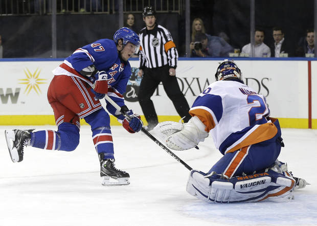 New York Rangers' J.T. Miller, left, scores a goal past New York Islanders goalie Evgeni Nabokov, right, during the second period of the NHL hockey game in New York, Thursday, Feb. 7, 2013.  (AP Photo/Seth Wenig)