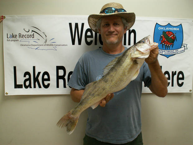 Scott Elam of Moore with a walleye from Lake Stanley Draper