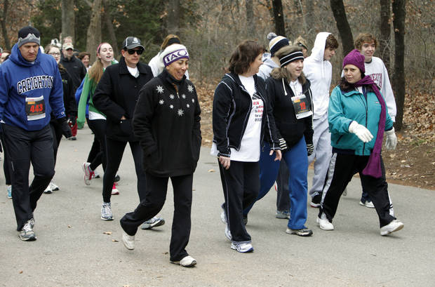 Walkers participate in the Forever Edmond fun walk and run at Hafer Park in Edmond, OK, Saturday, January 12, 2013. The walk and run was held for the first time to raise money for American Foundation for Suicide Prevention.  By Paul Hellstern, The Oklahoman